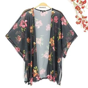 NEW Floral Print Sheer Black Kimono